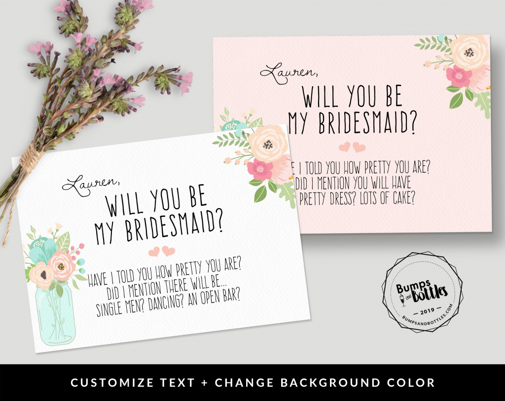 Free Printable: Will You Be My Bridesmaid? | Free Printable Will You Be My Bridesmaid Cards