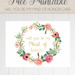 Free Printable Will You Be My Maid Of Honor Card, Floral Wreath | Will You Be My Godmother Printable Card Free