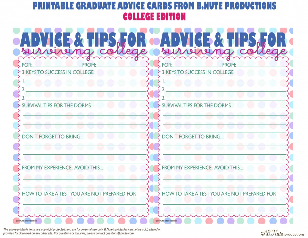 Free Printables | Free Printable Graduate Advice Cards - College | Free Printable Graduation Advice Cards