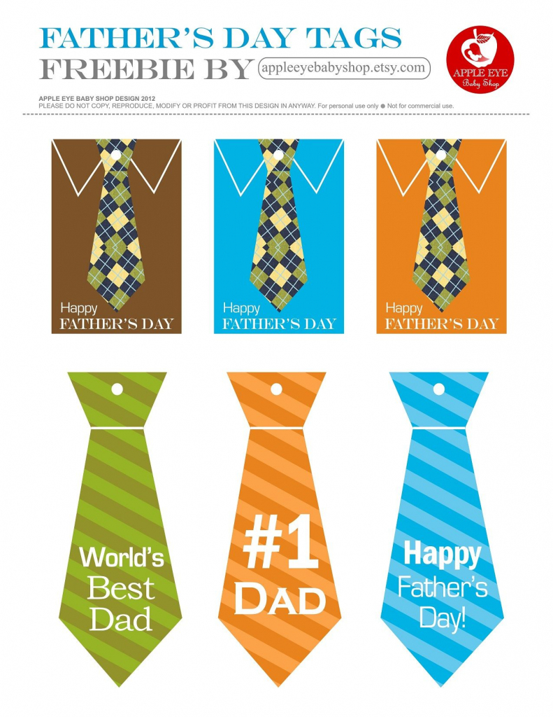 Free Printables Happy Father's Day Gift Tags. Ties, No.1 Dad   Father's Day Tie Card Printable