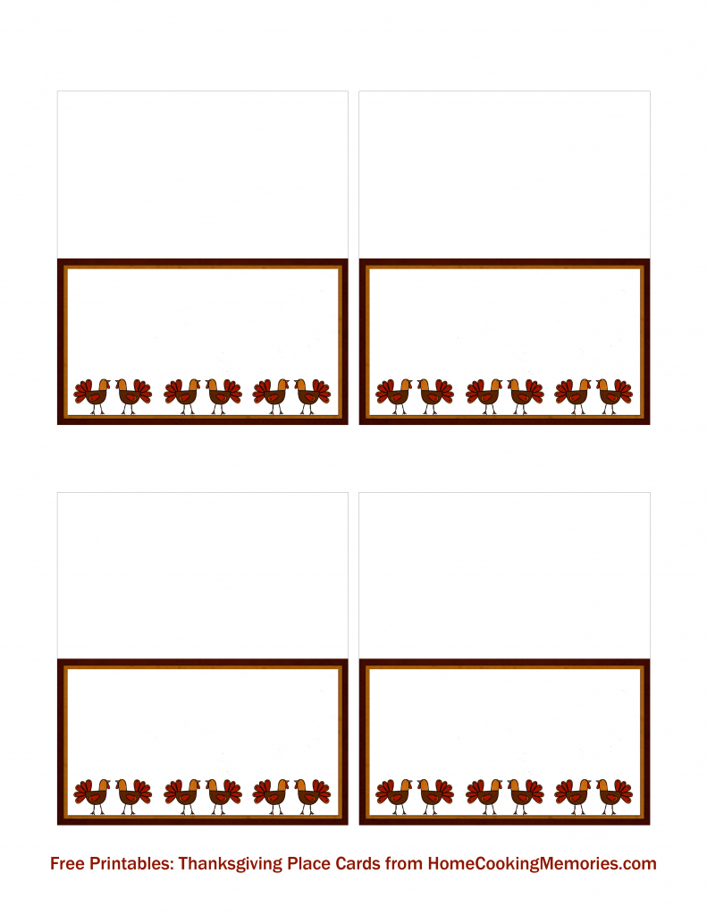 Free Printables: Thanksgiving Place Cards - Home Cooking Memories   Free Printable Thanksgiving Place Cards