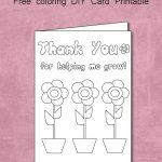 Free Thank You For Helping Me Grow   Coloring Card Printable | Thank You Card To Teacher Printable