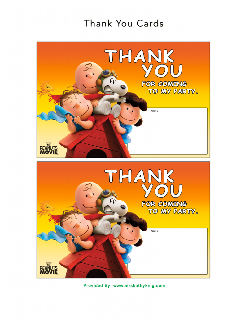 Free The Peanuts Movie Printable Party Decoration Pack | Snoopy Printable Birthday Cards