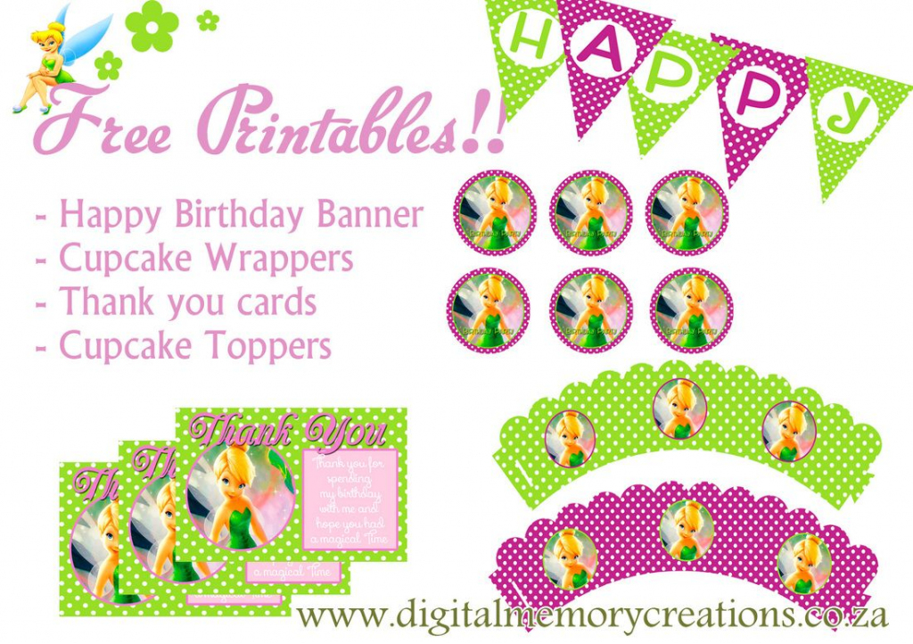Free Tinkerbell Party Printables | Diy Projects To Try | Tinkerbell | Printable Tinkerbell Thank You Cards
