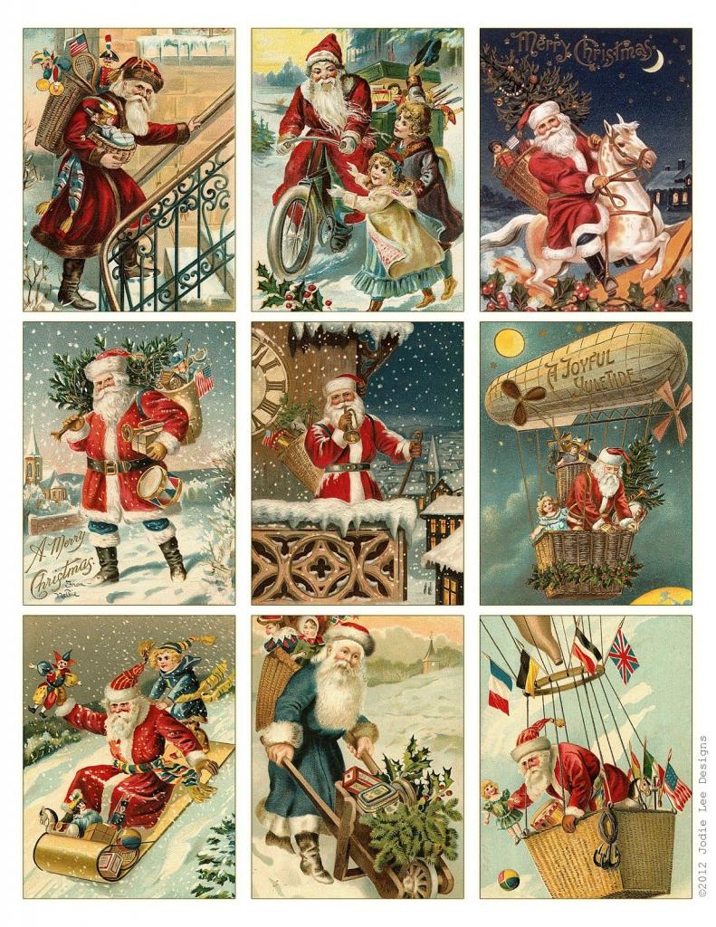 Free To Download! Printable Vintage Santa Tags Or Cards. | Free | Printable Vintage Christmas Cards