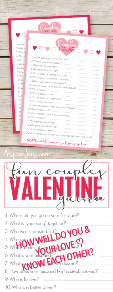 Free Valentines Couples Game Cards - Aspen Jay | Free Valentine Printable Cards For Husband