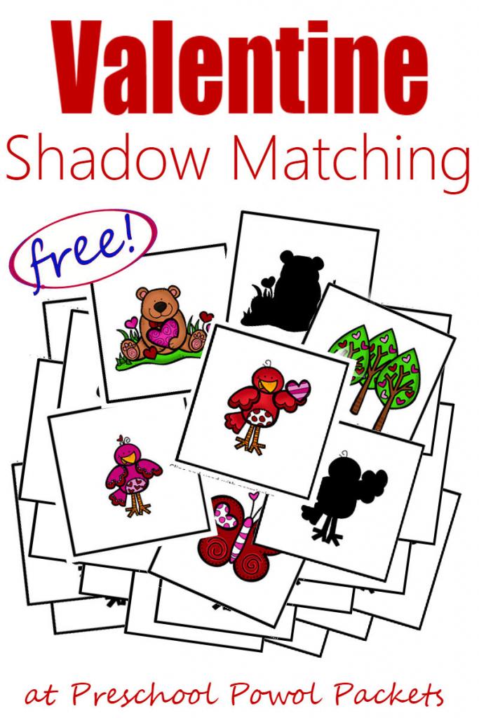 Free} Valentines Preschool Printables: Shadow Matching Cards | Free Printable Matching Cards