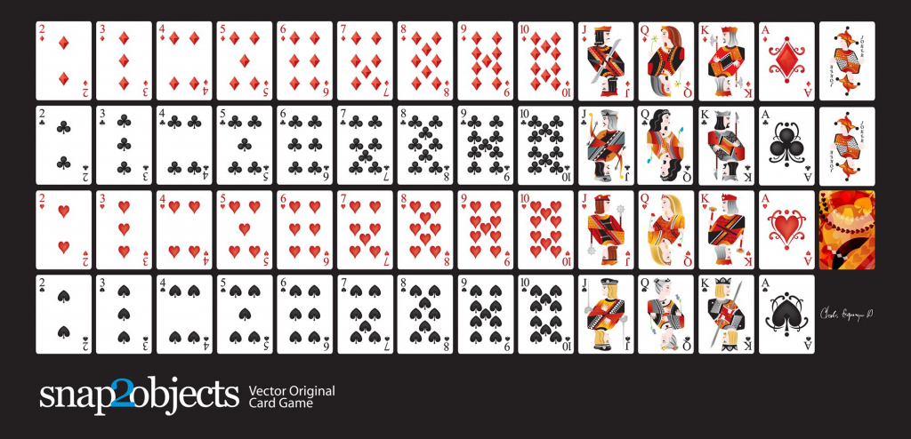 Free-Vector-Card-Deck | Silhouette Cameo | Cards, Deck Of Cards | Printable Jumbo Playing Cards