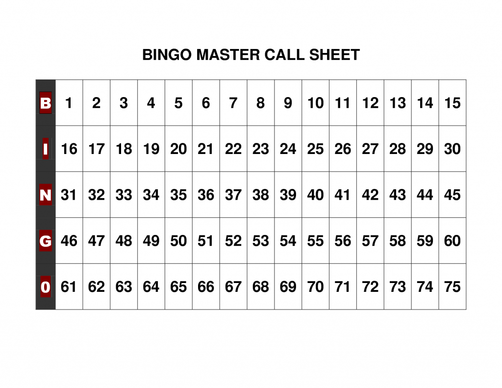 Free+Printable+Bingo+Call+Sheet | Bingo | Bingo Calls, Bingo Cards | Printable Bingo Cards 1 75