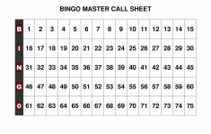 Free+Printable+Bingo+Call+Sheet | Bingo | Bingo Calls, Bingo Cards | Printable Number Bingo Cards 1 75
