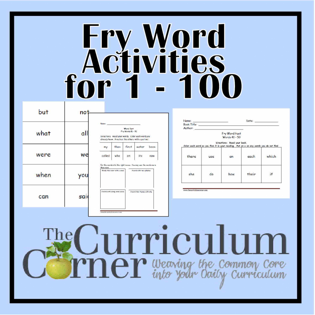 Fry First Hundred Printables (1 - 100) - The Curriculum Corner 123 | First 100 Sight Words Printable Flash Cards