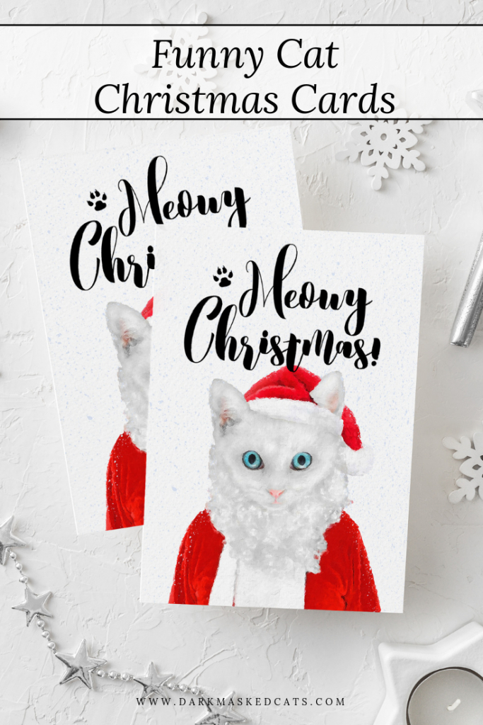 Funny Christmas Card, Santa Cat, Printable Cat Lover Gift, Meowy | Christmas Cards For Him Printable