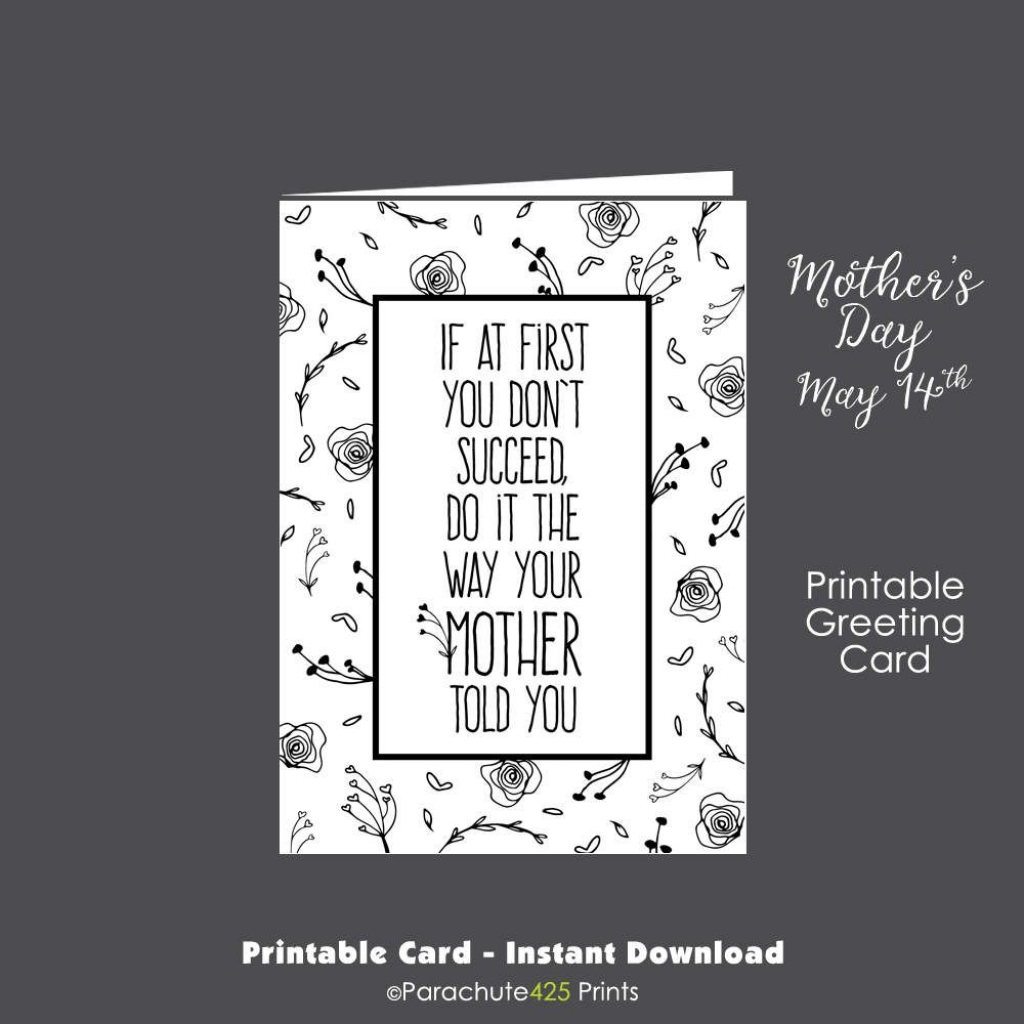 Funny Mom Card, Printable Mom Card, Funny Mothers Day, Mothers Day | Printable Birthday Cards For Mom Funny
