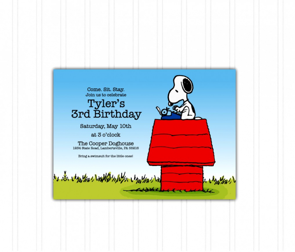 Gallery Of Snoopy Birthday Invitations Printable Cards Lovely Party | Snoopy Printable Birthday Cards