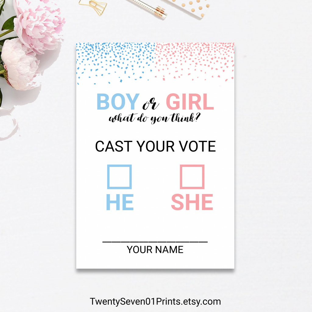 Gender Reveal Vote Ballot Cards Game Printable Confetti Pink | Etsy | Printable Gender Reveal Voting Cards