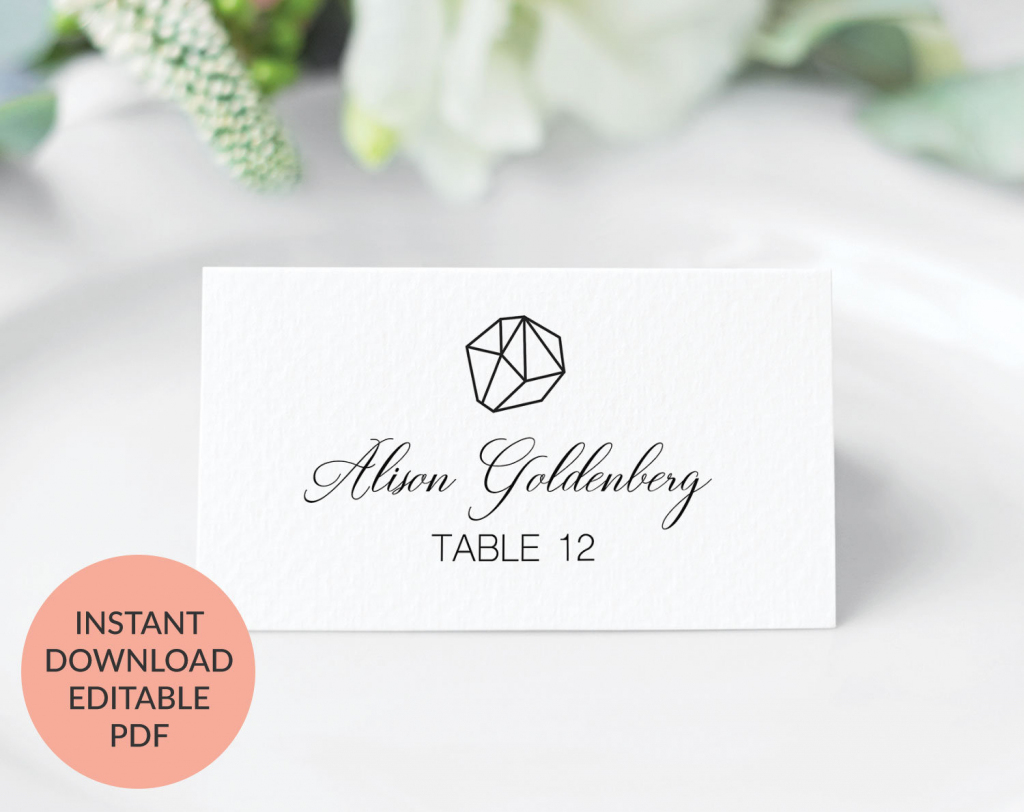 Geometric Wedding Place Cards Printable Wedding Place Cards | Etsy | Printable Wedding Place Cards