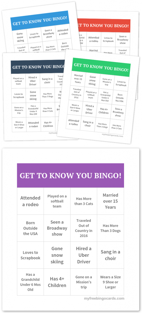 Get To Know You Bingo! | Icebreakers! | Free Printable Bingo Cards | Printable Icebreaker Bingo Cards