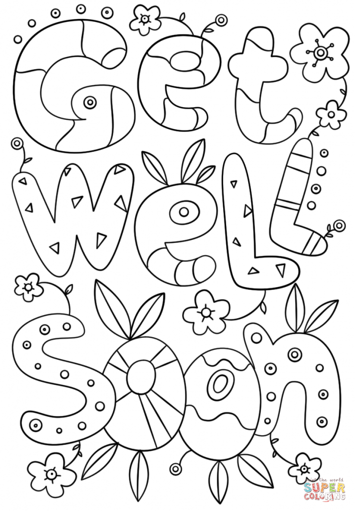 Get Well Soon Doodle Coloring Page | Free Printable Coloring Pages | Free Printable Get Well Cards To Color
