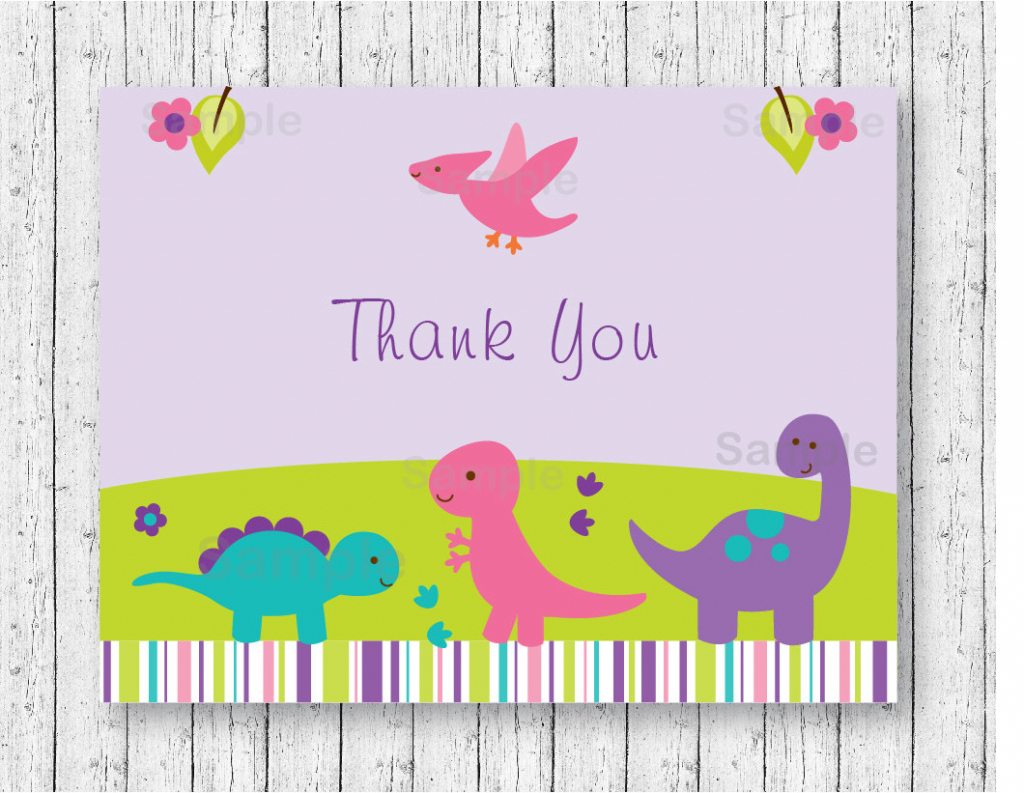 Girl Dinosaur Thank You Card / Dinosaur Baby Shower / Pink & | Etsy | Dinosaur Thank You Cards Printable