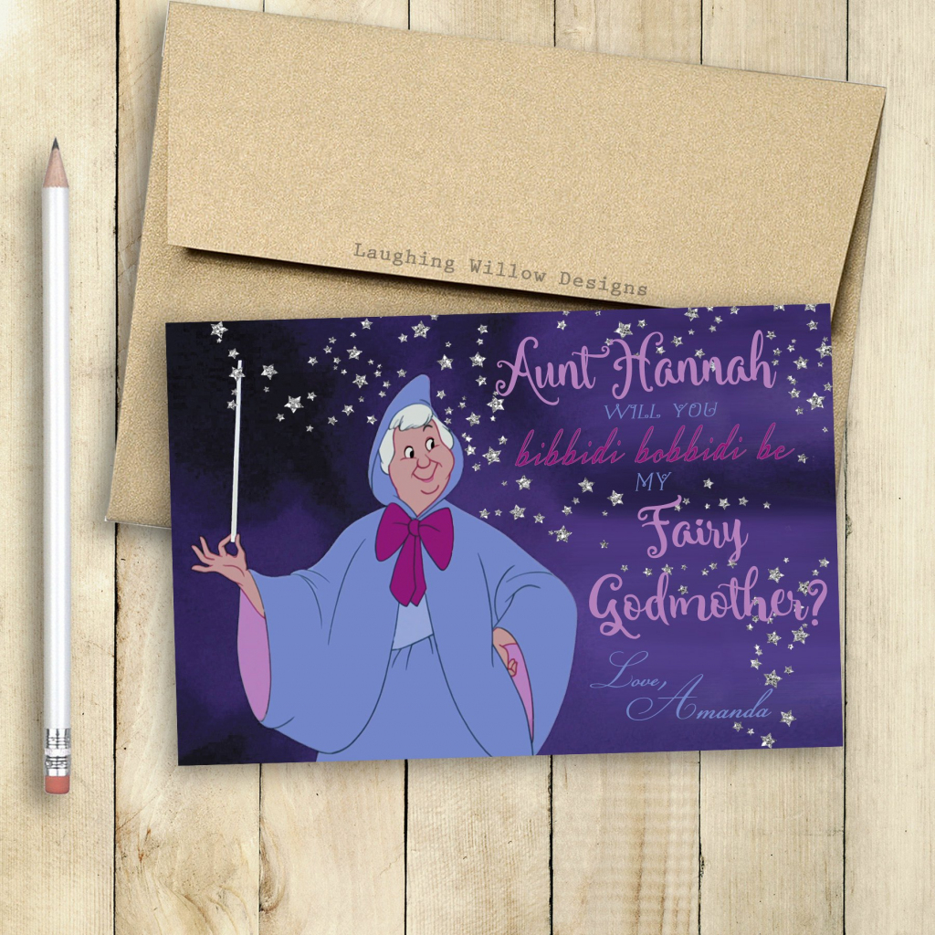 Godmother Fairy Godmother Card Will You Be My Godmother Card | Etsy | Will You Be My Godmother Printable Card Free