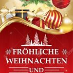 Golden Red Greeting Card For Winter Season With Text In German | Free Printable German Christmas Cards