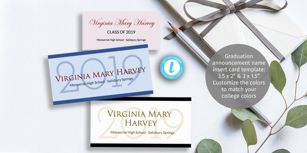 Graduation Name Card Insert Diy Customizable Printable | Etsy | Printable Name Cards For Graduation Announcements