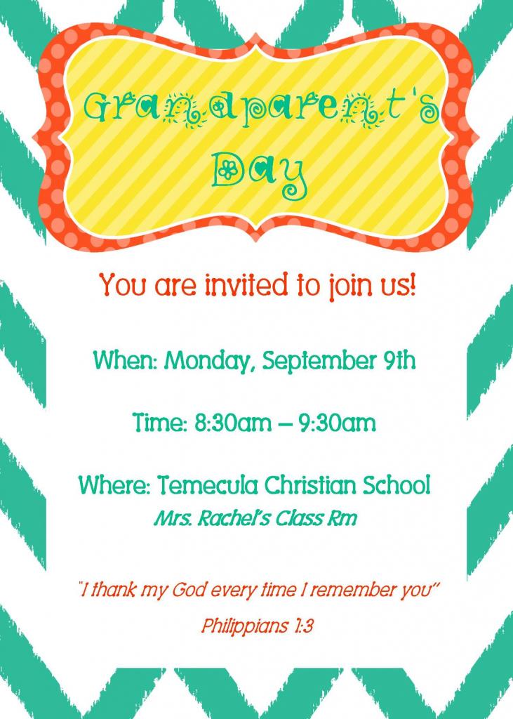 Grandparent's Day Invite   Party Time   Grandparents Day   Grandparents Day Invitation Cards Printable