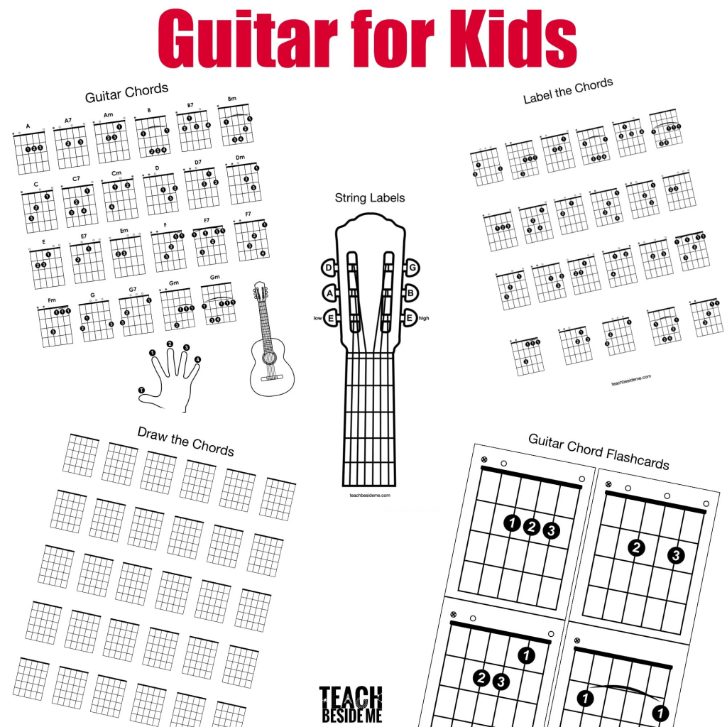 Guitar Chords For Kids – Teach Beside Me | Guitar Chord Flash Cards Printable