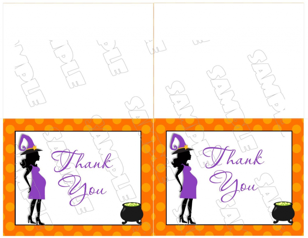 Halloween Baby Shower Thank You Card Printable Instant Download | Halloween Thank You Cards Printable
