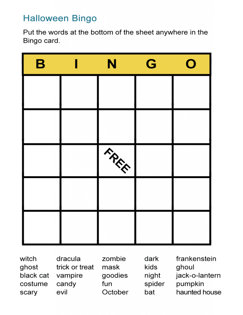 Halloween Bingo Cards: Printable Bingo Games For Class - All Esl | Vocabulary Bingo Cards Printable