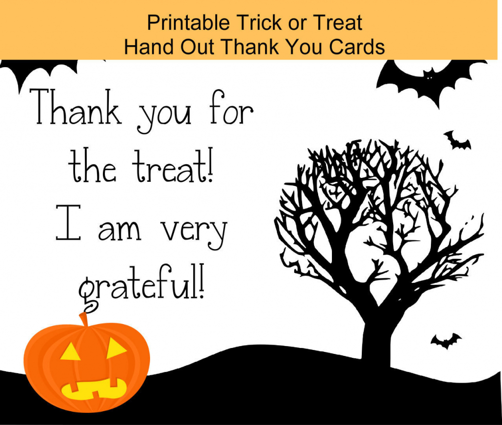 Halloween Digital Download Printable Trick Or Treat Thank | Etsy | Halloween Thank You Cards Printable