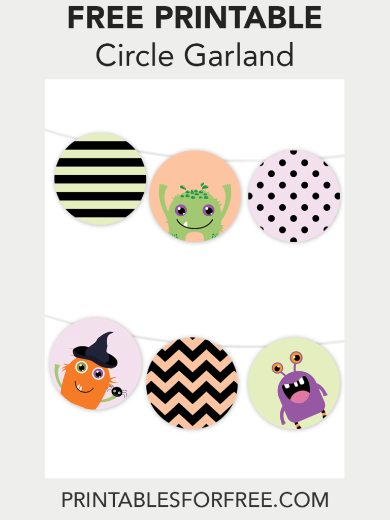 Halloween Monster Printable Garland | Free Party Printables | Free Printable Halloween Place Cards