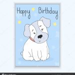 Happy Birthday Card With Hand Drawn Cute Cartoon Dog. Vector | Printable Dog Birthday Cards
