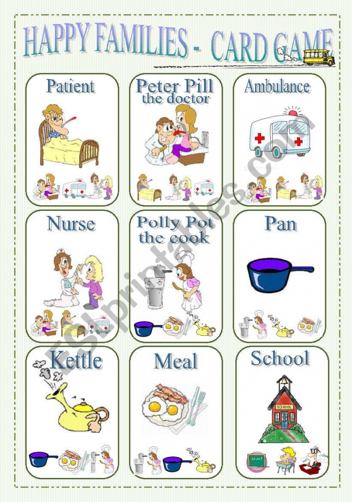 Happy Families - Card Game Part 1 - Esl Worksheetlilianac | Happy Families Card Game Printable