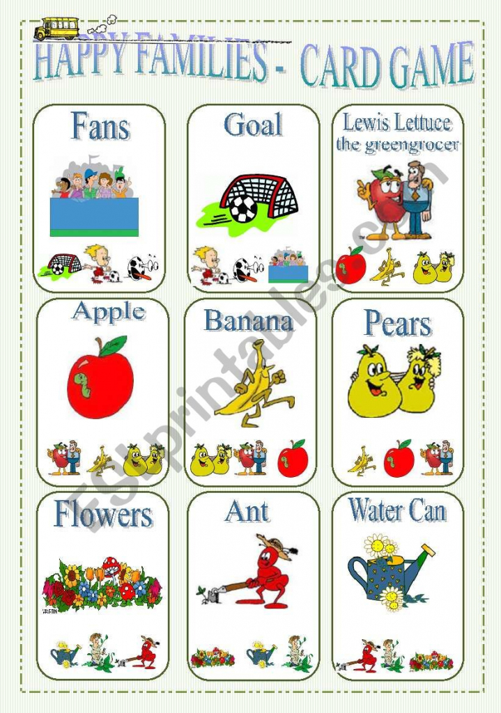 Happy Families - Card Game Part 2 - Esl Worksheetlilianac | Happy Families Card Game Printable