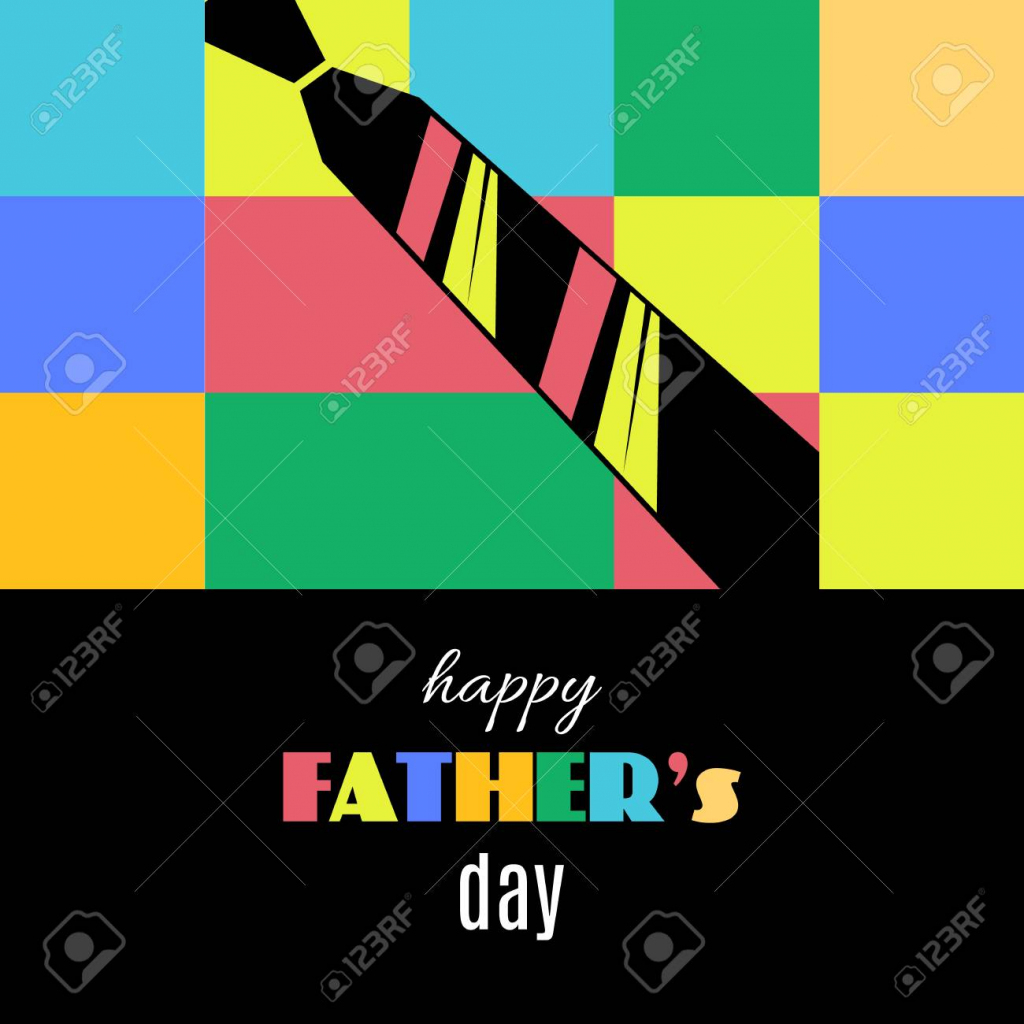 Happy Father's Day Greeting Card Template With Tie On Geometrical | Father's Day Tie Card Printable