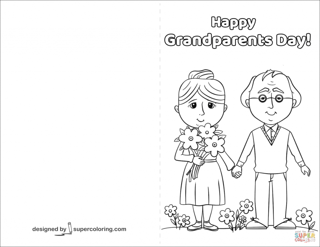 Happy Grandparents Day Card Coloring Page | Free Printable Coloring | Grandparents Day Cards Printable