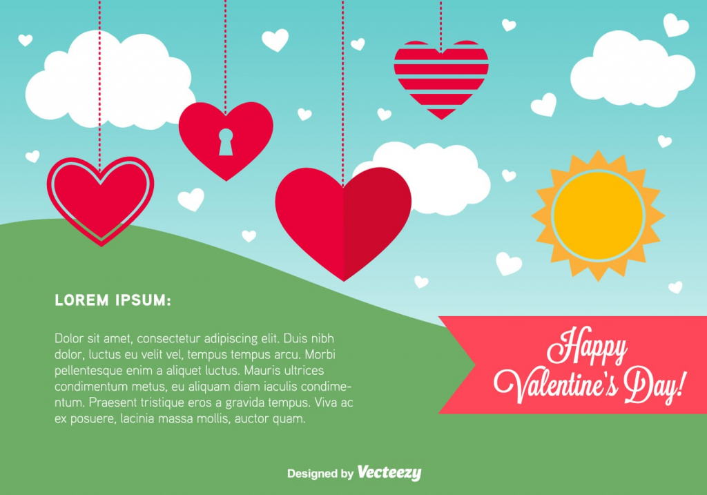 Happy Valentine's Day Card Template - Download Free Vector Art | Valentine's Day Card Printable Templates