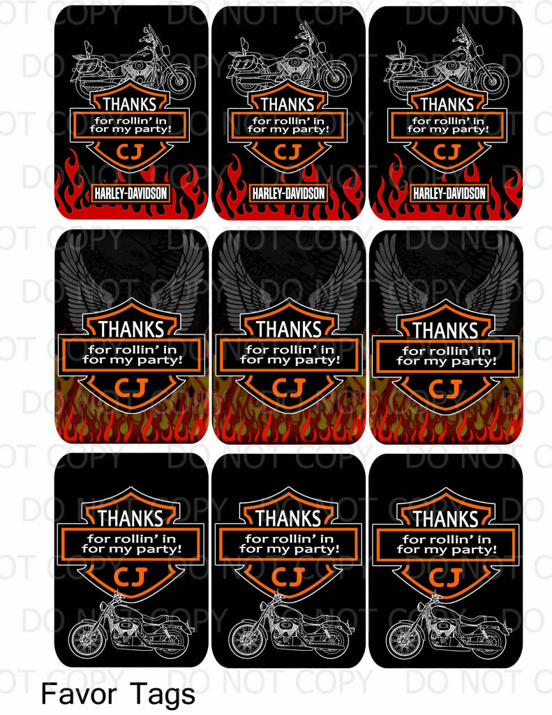 Harley Davidson Birthday Party Favor Tags | Harley Davidson | Harley Davidson Cards Printable