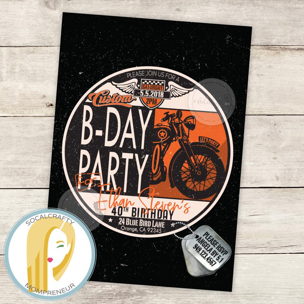 Harley Davidson Birthday Party Invitation Motorcycle | Etsy | Harley Davidson Cards Printable