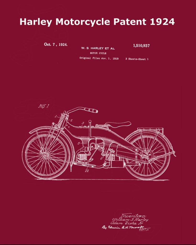 Harley Motorcycle Patent Print 1924-Harley Davidson Print-Gift | Etsy | Printable Harley Davidson Gift Cards