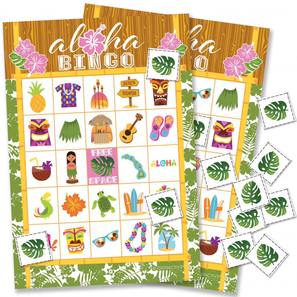 Hawaiian Luau Party Bingo Game 24 Players - Tropical Tiki Luau | Printable Hawaiian Bingo Cards