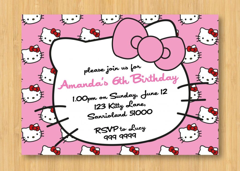 Hello Kitty Printable Birthday | Birthday Invitation For Kids | Hello Kitty Birthday Card Printable Free