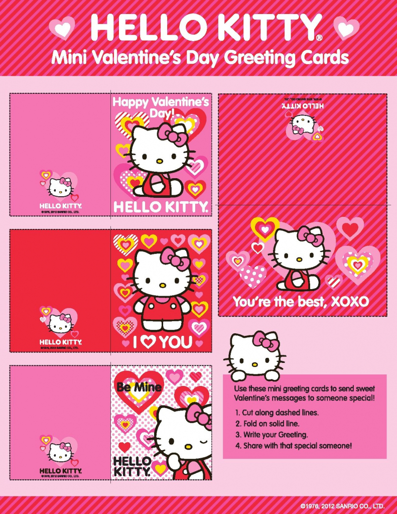 Hellokitty #valentines! Just Click And Print! | Xoxo | Cat Valentine | Hello Kitty Valentines Day Cards Printable