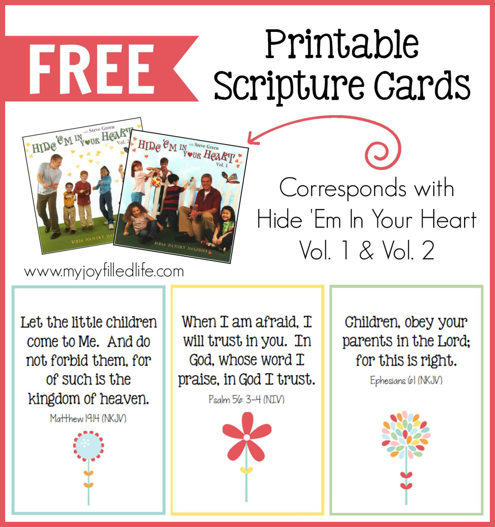 Hide 'em In Your Heart Scripture Cards {Free Printable} - My Joy | Free Printable Bible Verse Cards