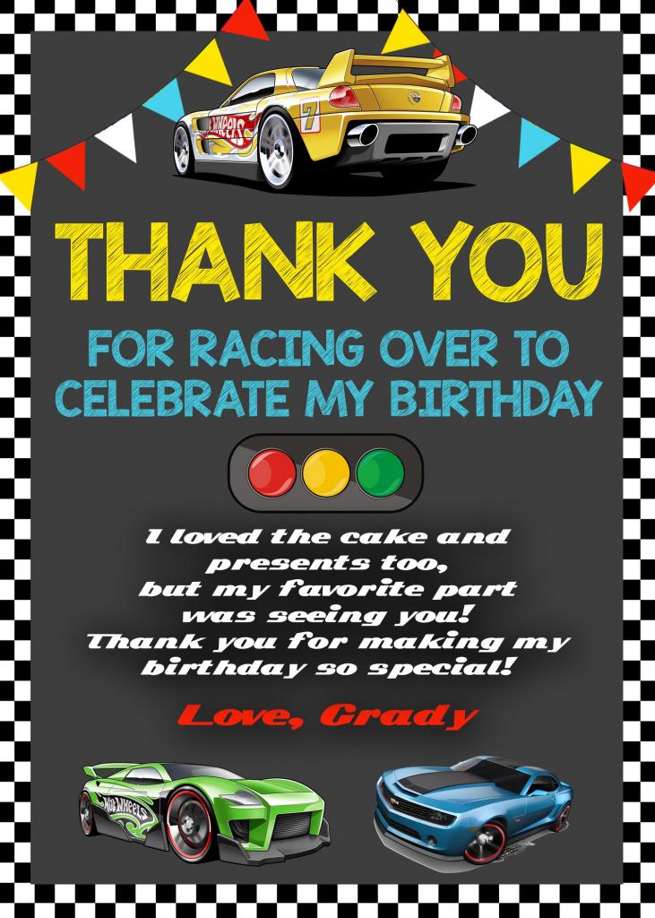 Hot Wheels Thank You Card, Hot Wheels Birthday, Hot Wheels Printable | Hot Wheels Birthday Cards Printable