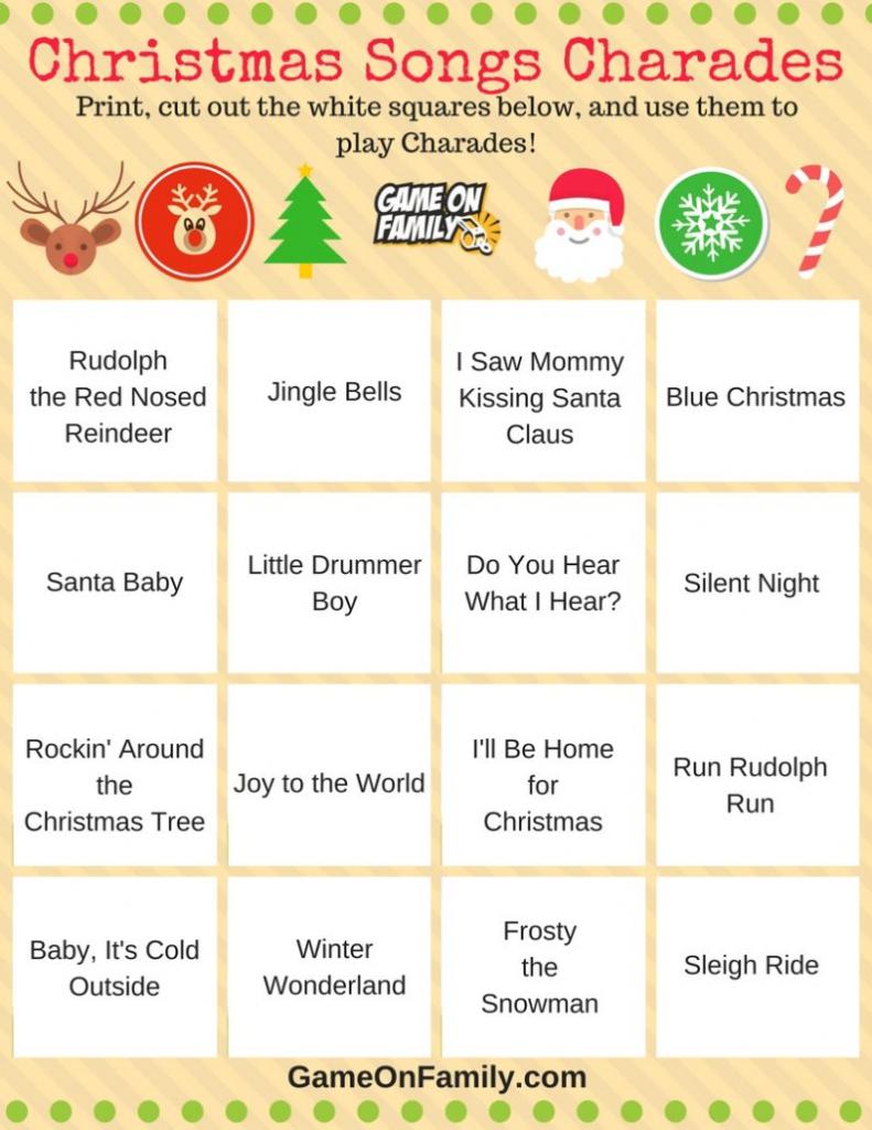 How To Play Christmas Charades: Free Printable Games! | Game On Family | Free Printable Charades Cards