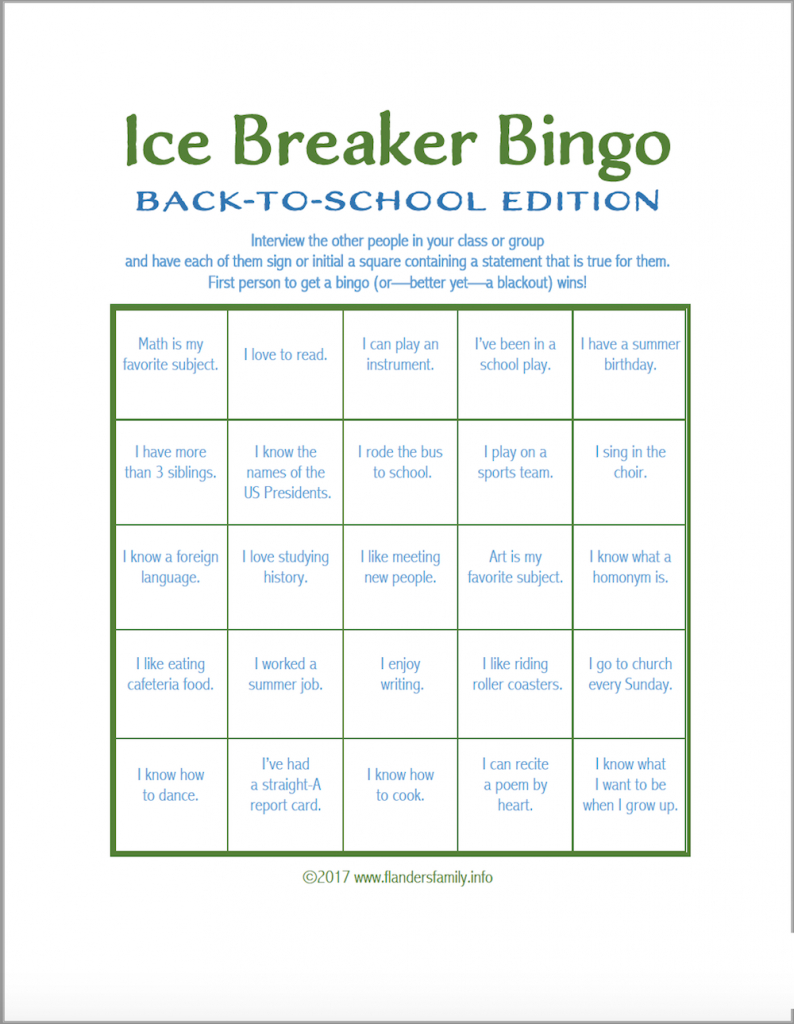 Ice Breaker Bingo: Back-To-School Version - Flanders Family Homelife | Printable Icebreaker Bingo Cards