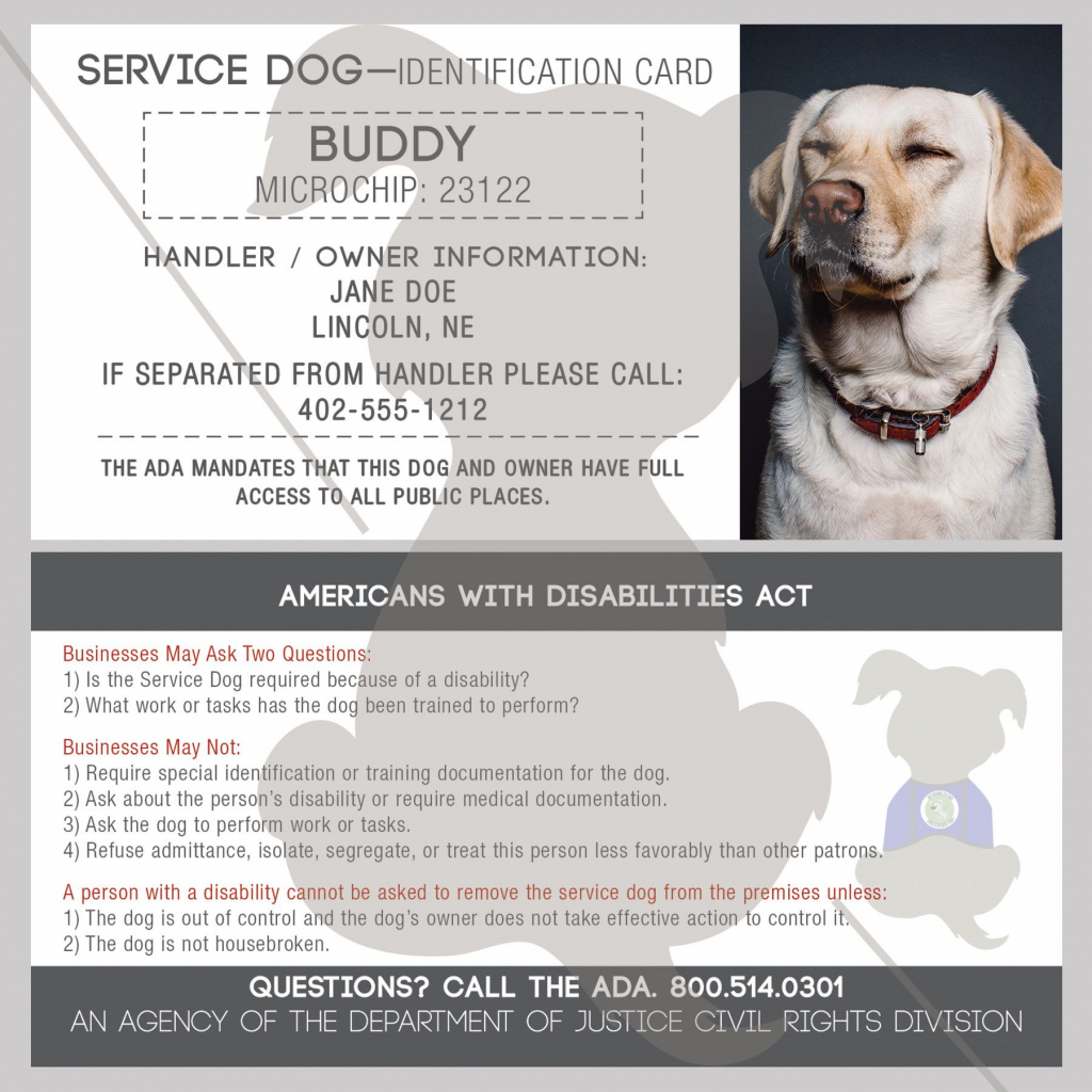 Id Card - Service Dog - With Holographic Security Seal | Must Love | Printable Ada Service Dog Card