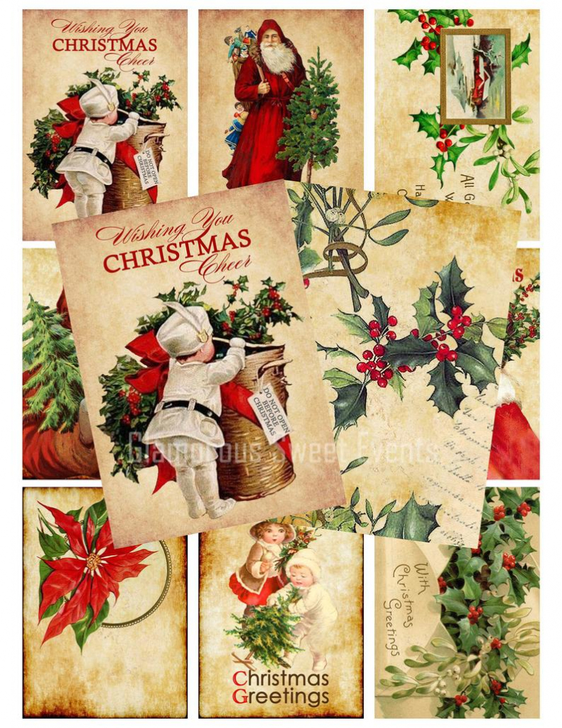 Instant Download 3.5 X 2.5 Vintage Christmas Cards | Etsy | Printable Vintage Christmas Cards